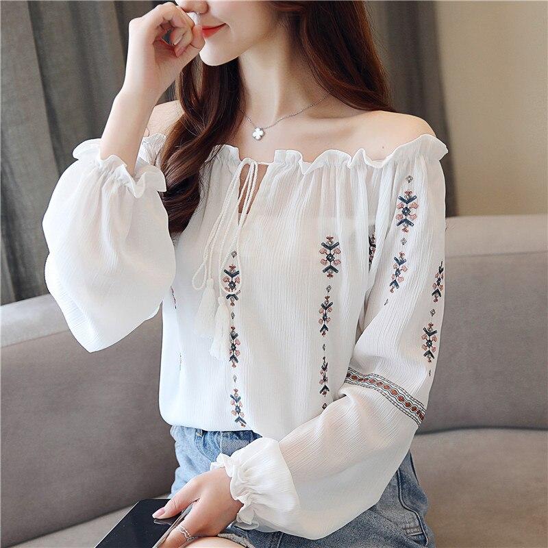 New Spring Chiffon Women's Embroidery Feminine Shirts Casual Women Tops Chiffon Long Sleeves Fashion 2019 Blouses Shirt 902D7