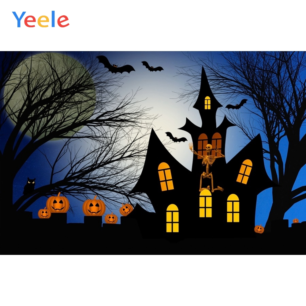 Yeele Halloween Horror Moon Pumkins Castle Skull Bat Photography Backdrop Personalized Photographic Backgrounds For Photo Studio in Background from Consumer Electronics