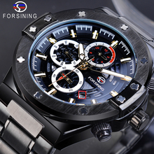Forsining Black Men Mechanical Watches Automatic Race Car Date Multifunction 3 Sub Dial Luminous Hand Stainless Steel Band Clock цена и фото