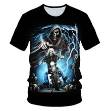 New Funny Skull Motorbike 3D T Shirt Summer Hipster Short Sleeve Tee Tops Men/Women Print T-Shirts Casual Homme Mens clothing