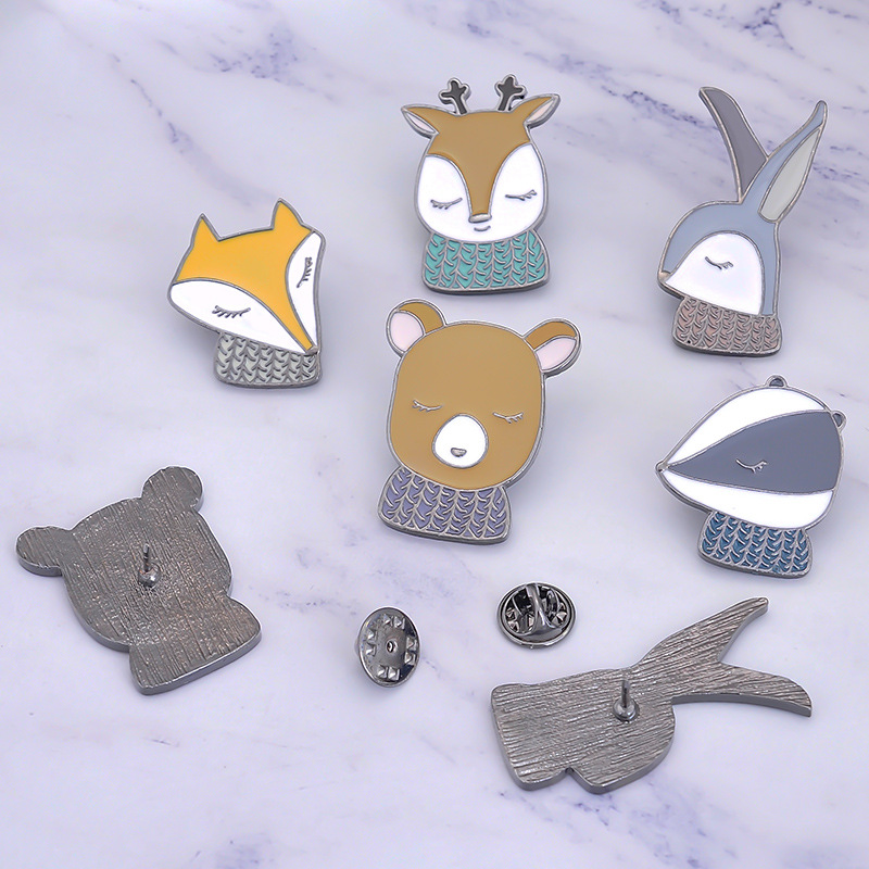Cartoon animal brooch Cute fox rabbit bear enamel pins Lapel clothing metal collar needle Backpack hat kawaii brooch in Brooches from Jewelry Accessories