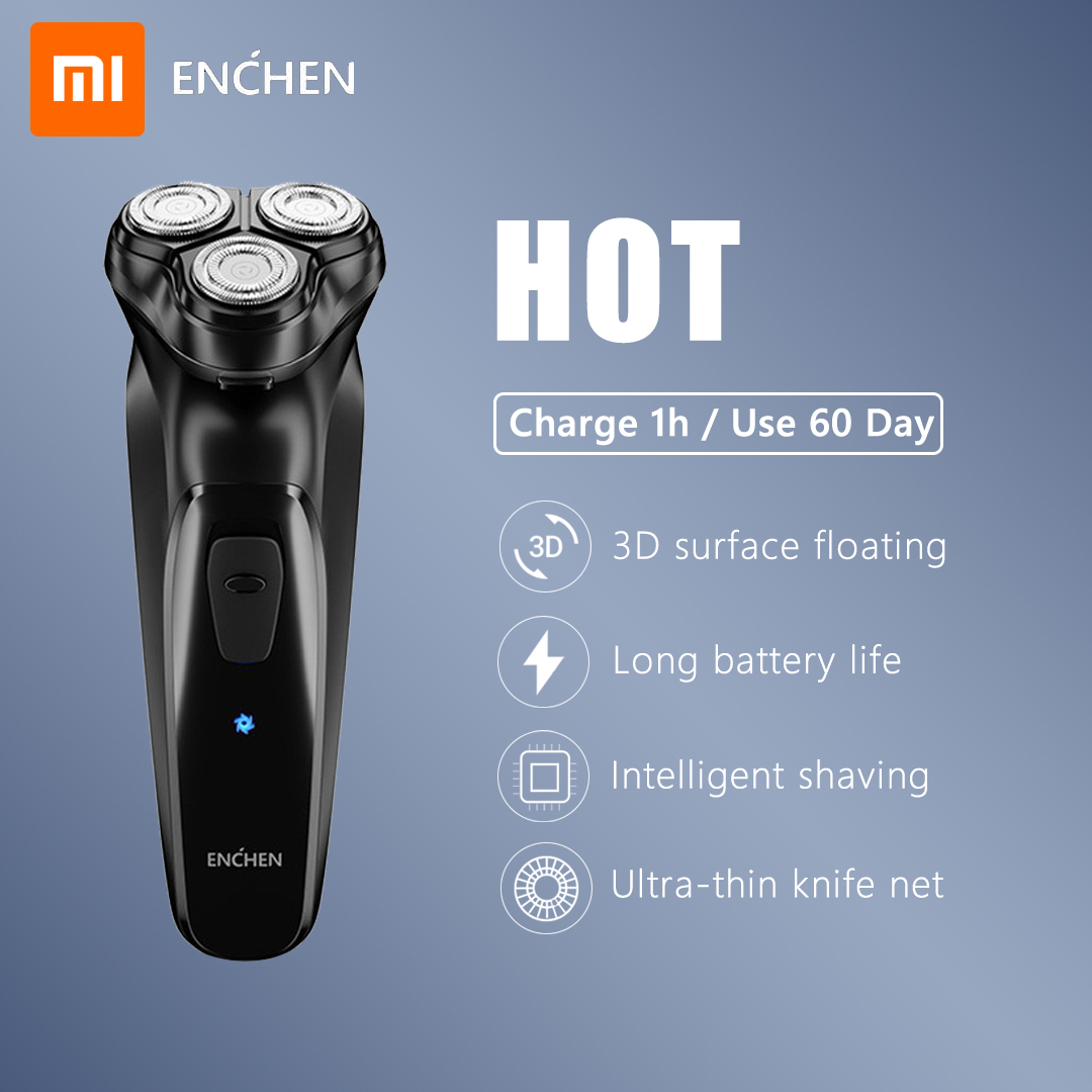 XIAOMI Original Face Shaver Enchen BlackStone 3D Electric Shaver, Men Washable Type-C USB Rechargeable Shaving Beard Machine