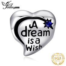 JewelryPalace Vintage Heart Created Sapphire Shooting Star Dream Catcher 925 Sterling Silver Charm Bead Fit Bracelets