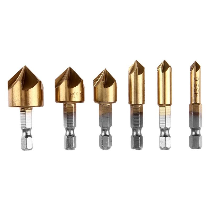 6pcs 6-19mm Hex Shank Drill Bits Woodworking Countersink Chamfering Drilling Chamfer Cutter 90 Degree HSS Accessories