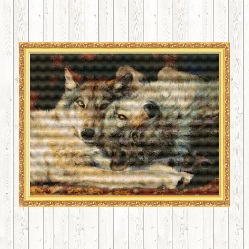 DMC Counted Cross Stitch Kit Animals Wolf Patterns 11ct 14ct Printed Wall Art Canvas Embroidery Cross Stitch Kit Needlework Kits