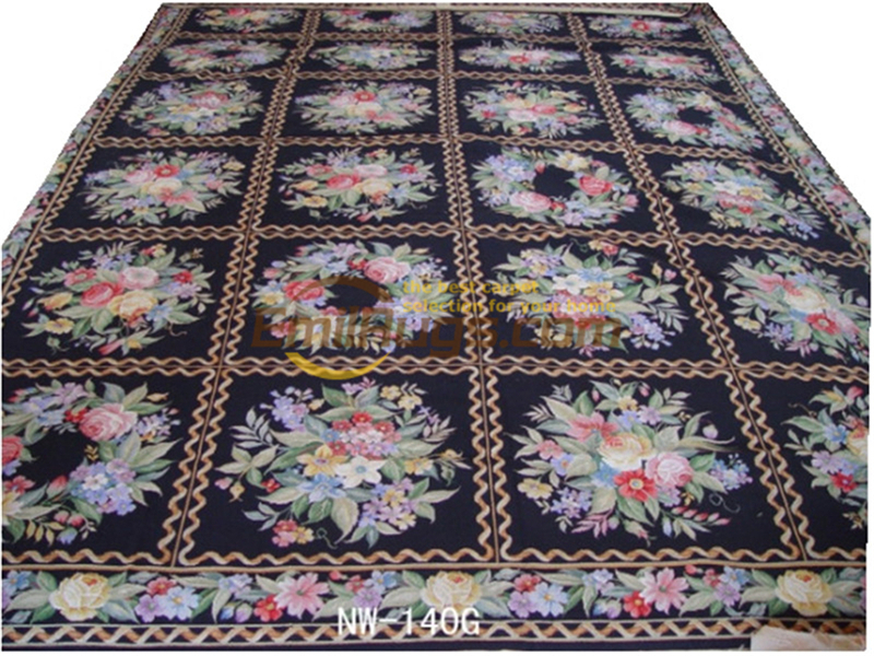 Hand-stitched Floral Needled Blanket Antique Chinese Hand-made Wool Museum Wool Rug Carpet  140g 10x14