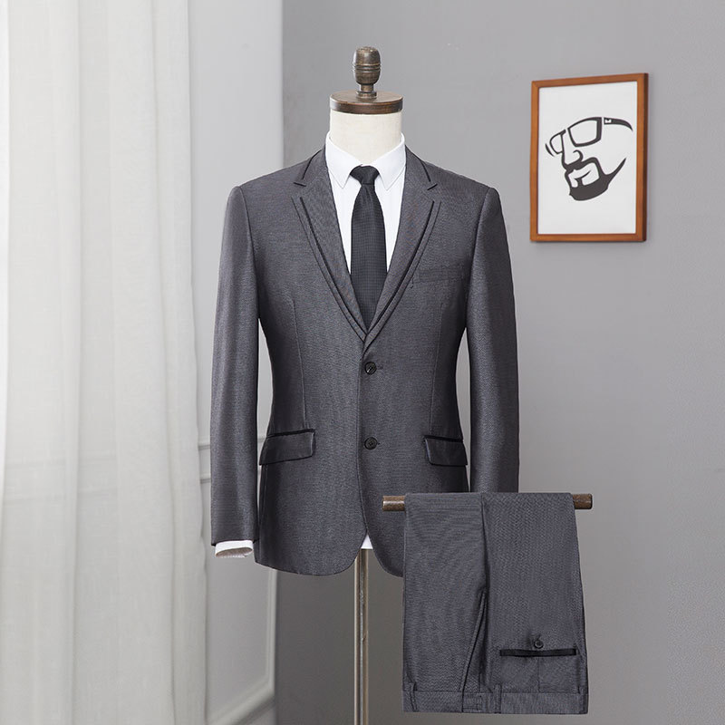 2019 Men's Cultivate One's Morality Of England Pure Color Suits Splicing Two-piece Career Suits Brought The Grey Suit