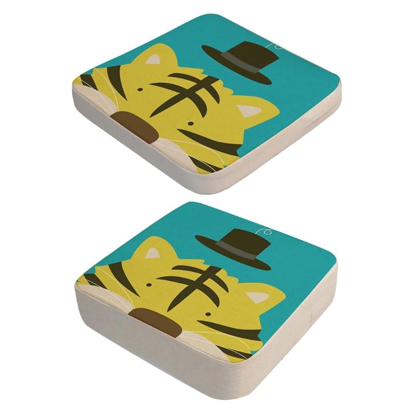 2 Pcs/Set Anti-Skid Cartoon Animal Print Dining Children Cushion Increased Pad Adjustable Removable High Chair Booster Mat H055