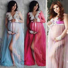 цена на Pregnant Women Lace Up Long Sleeve Maternity Dress Ladies Maxi Gown Photography Photo Shoot Clothing Clothes