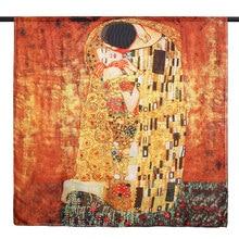 Gustav Klimt Ölgemälde Silk Schal für Frauen Luxus Marke Silk Schal Designer Der Kuss Foulard Femme Sommer Strand Abdeckung up Neue