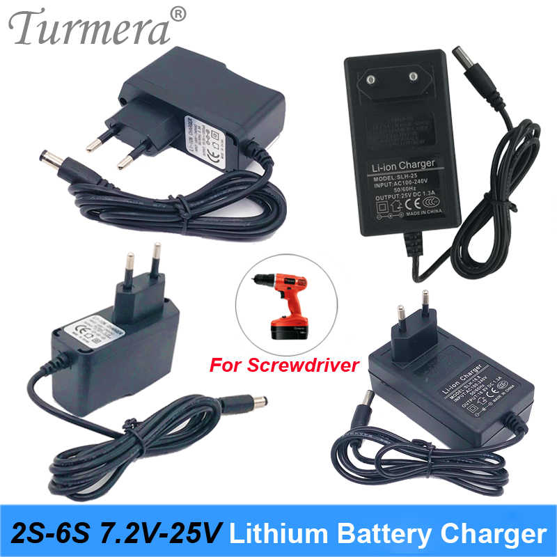 8.4V 12.6V 16.8V 21V 25V 1A 2A 1.3A 18650 Battery Charger DC 5.5MM*2.1MM for 2S 3S 4S 5S 6S Battery Pack for Screwdriver Battery