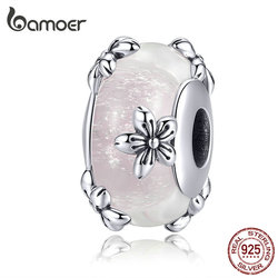 bamoer Vintage Flower Handmade Murano Beads for Women Origianl Silver Bracelet Glass Charm 925 Sterling Silver Jewelry SCC1302
