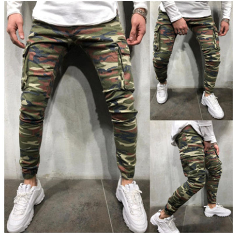 Men's Camouflage Long Pants Slim Fit Trousers Gym Run Jogger Sport Sweatpants Autumn Summer Clothes 2020 New