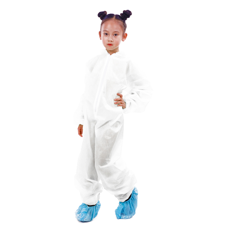 Disposable White Child Protective Clothing Kids Disposable Hazmat Suit Safety Coverall Dust Suit Overall One Size Wholesale