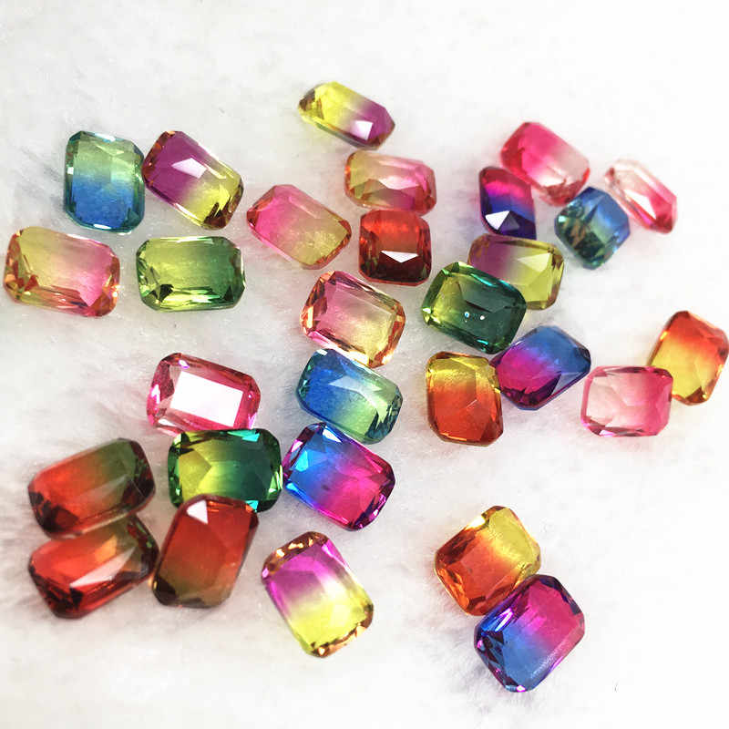 25pcs/bag 6*8mm Rectangle Octagonal Tourmaline Rhinestones Glass Crystal Stone Bicolor Gradient Nail Crystal For Nails Art Deco