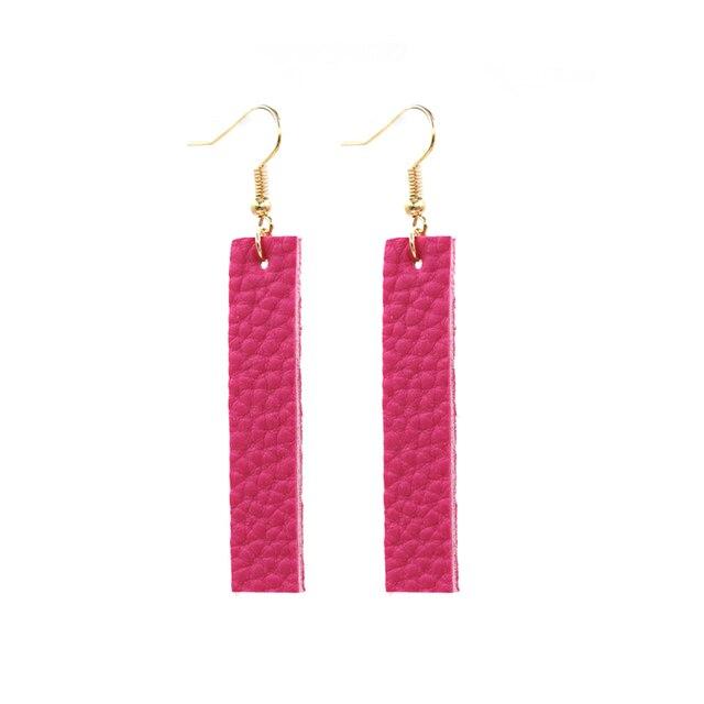 2020 nuevos pendientes simples de cuero PU barra Vertical de varios colores para mujeres
