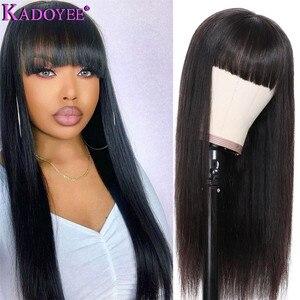 """Image 2 - Kadoyee frente do laço perucas de cabelo humano brasileiro remy cabelo 13x4 """"despedida peruca reta com franja 8"""" 26 """"preplucked 130% 150% densidade"""