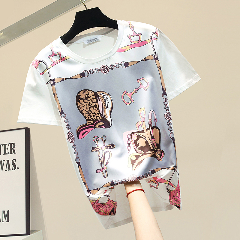 2020 Spring Summer New Printed Pattern Slim Thsirt Woman Personality Loose-Fit Short-Sleeve Round-Neck White T-shirt T Shirts T