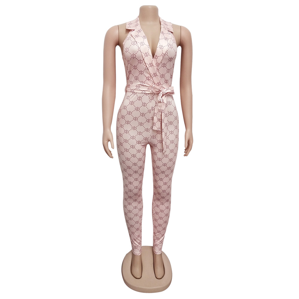 Hc285b93b3a474e0eb523093eba1f4f76F - Zoctuo Summer Autumn Rompers Womens Jumpsuit Plaid Sexy Halter Temperament commute Middle Waist Tight with Belt  Jumpsuit