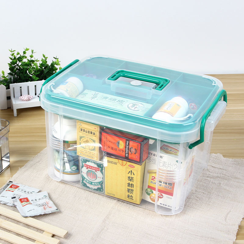 First Aid Box Multi-Layered Home Kit Healthy Medical Plastic Medicine Large Transparent Box