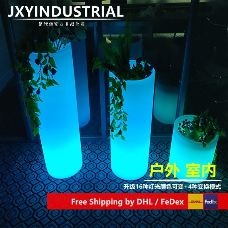 Round PE Plastic Colors Change LED Vase Wireless Remote Control