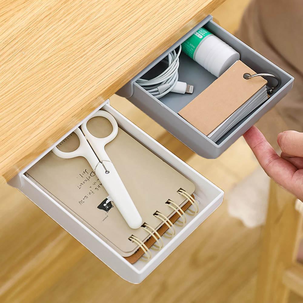Self Adhesive Under Desk Drawer Makeup Organizer Desktop  School Stationery Supplies Pencil Tray Pen Holder Sundries Storage Box|  - title=