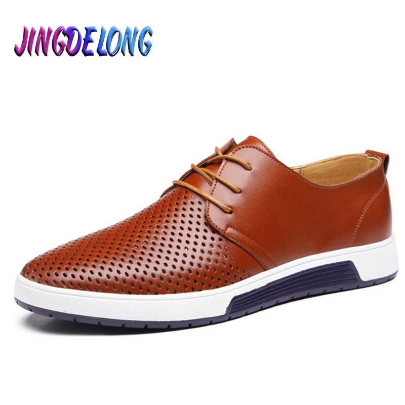 New Men Casual Shoes Leather Man Oxford Shoes Summer Breathable Holes Footwear Comfortable Office Loafers For Male Drop Shipping