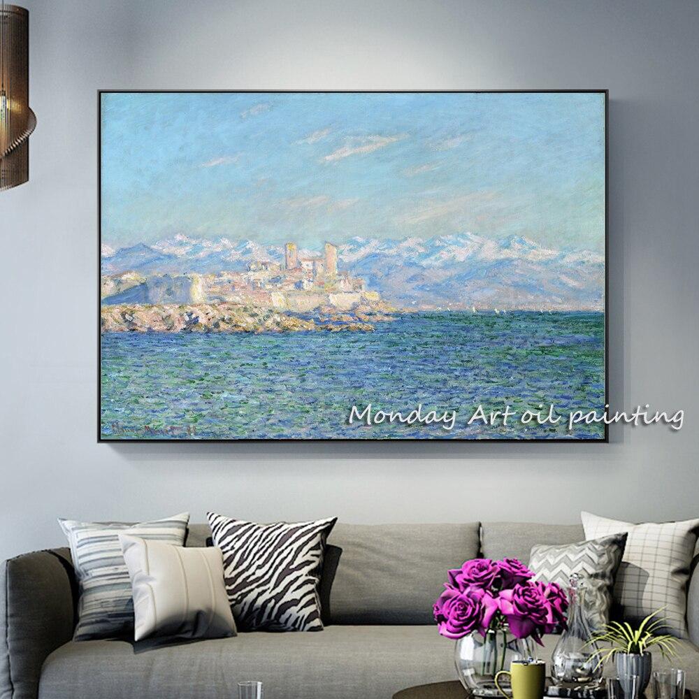 Pinturas-de-efecto-de-la-tarde-de-Antibes-en-la-pared-de-Claude-Monet-pared-arte副本
