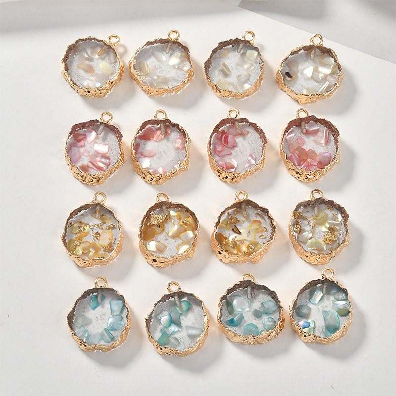 Transparent Rock-like Color Shell Irregular Round Resin Pendant DIY Earrings Accessories