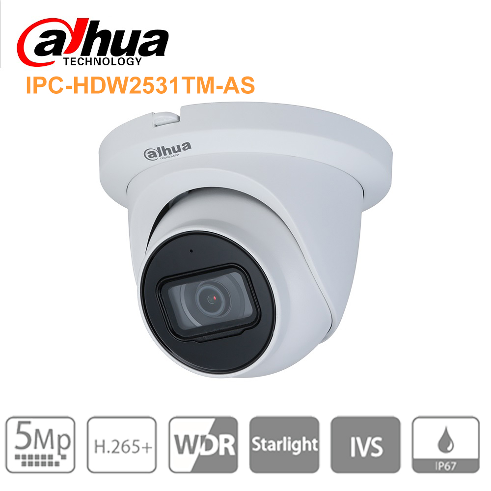 Original Dahua IPC-HDW2531TM-AS 5MP POE Built-in Mic SD Card Slot H.265+ 30M IR IVS WDR Onvif IP67 Starlight Eyeball IP Camera