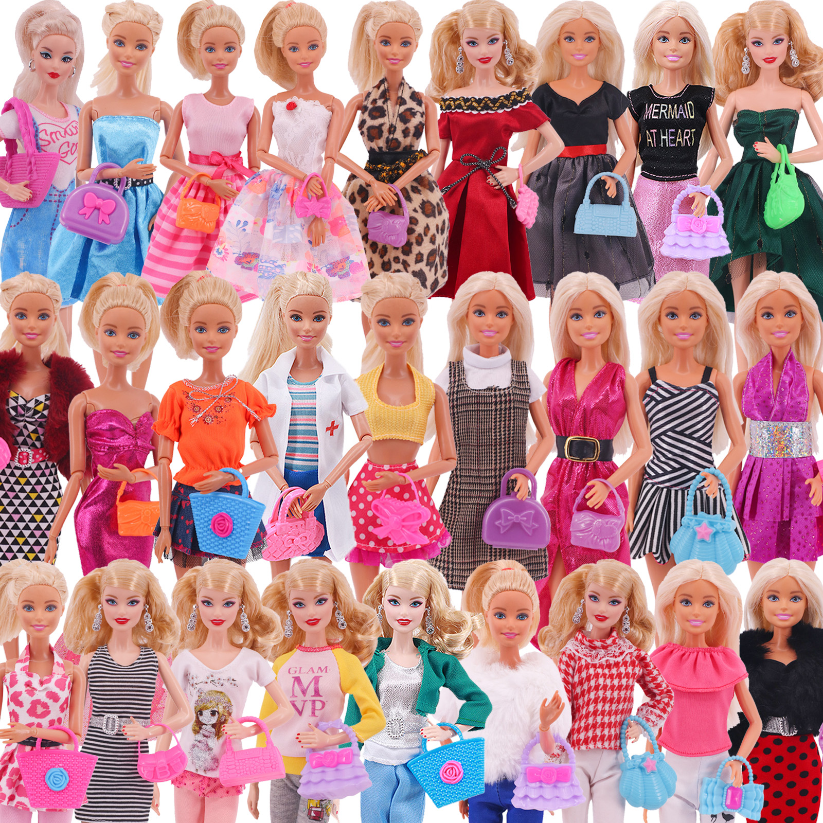 3Ps/Set Barbies Doll Clothes Tops+Jeans/Dress+Bag Baby Clothes Princess Dress Skirt For Barbie Doll Accessories Girl` Toy Russia