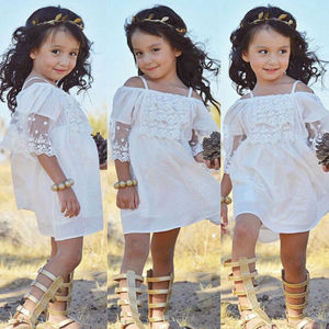 3 to 7 Year Lovely Little Girls Lace Tulle Dress Beach Princess Dresses Baby Girl Clothes Wedding Mini Tutu White Dresses(China)