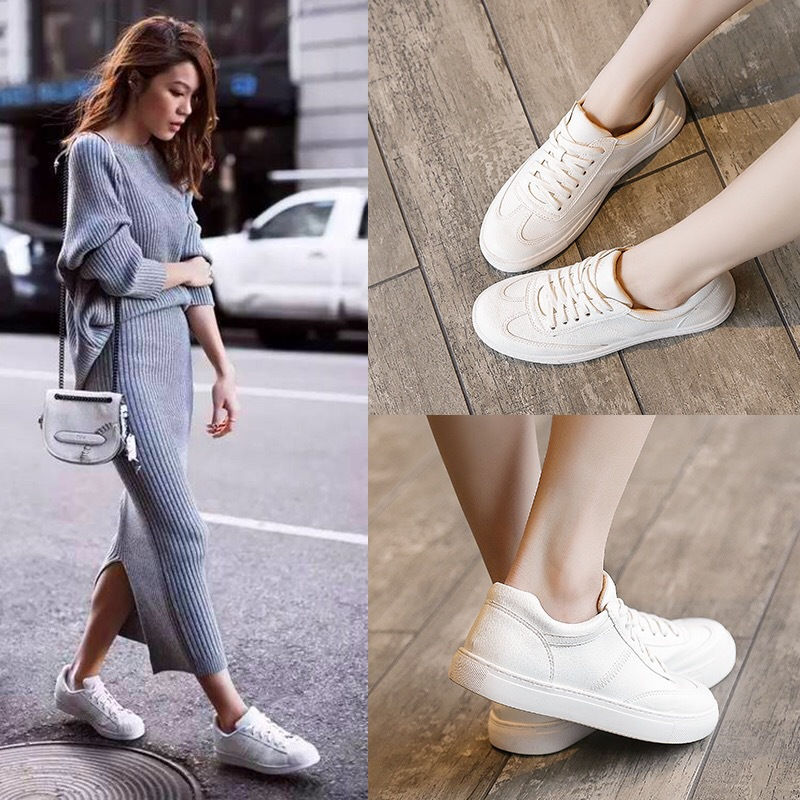 Top SaleWhite Shoes Chunky Sneakers Lace-Up Platform Women Feminino Split Zapatos-De-Mujer Casual