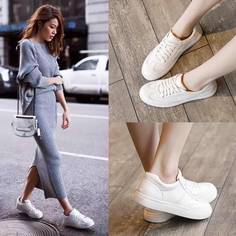 Mode blanc fendu en cuir femmes grosses baskets chaussures blanches à lacets Tenis Feminino Zapatos De Mujer plate-forme femmes chaussures décontractées