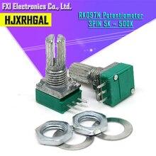 50 stücke RK097N 5K 10K 20K 50K 100K 500K B5K mit einem schalter audio 3pin welle 15mm verstärker abdichtung potentiometer