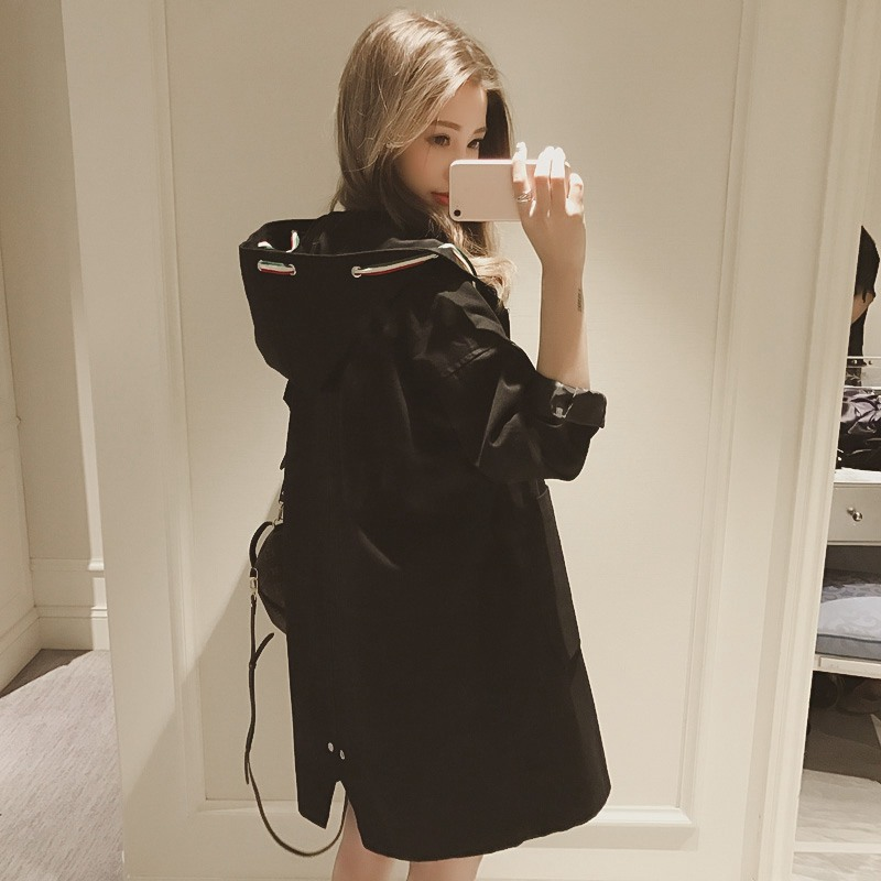 2019 Fashion Women Trench Coat Long Sleeve Hooded Autumn Black Zipper Velvet Long Coat Women Overcoat Clothes