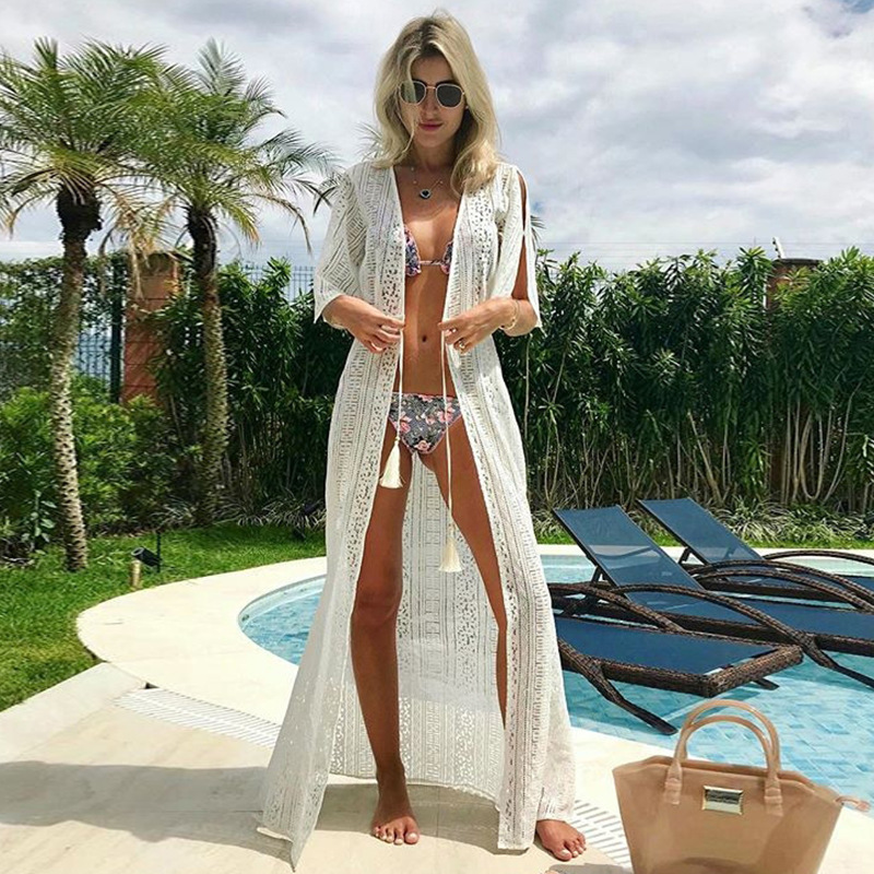 Beach Cover up Solid long Bikini Tunic for Swimsuit cover Sarong Saidas wear