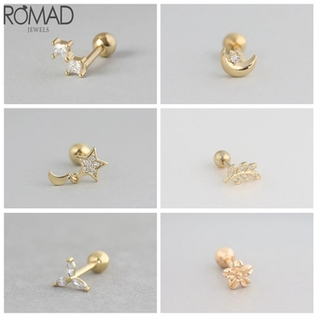 Romad 1pcs 925 Sterling Silver Stud Earrings Helix Star Rose Gold For Women Fine Jewelry DIY Making Piercing Aretes W5