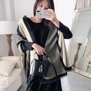 Image 1 - 2020 luxe femmes hiver écharpe Tartan motif soie sentiment Modal cachemire châle Femme tricot laine couverture Pashmina dames Echarpe