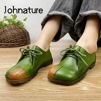 Johnature Autumn 2020 New Flats Women Shoes Genuine Leather Mixed Colors Casual Lace-up Round Toe Shallow Handmade Ladies - discount item  36% OFF Women's Shoes