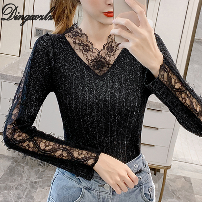 Dingaozlz New Fashion V-neck Hollow Sexy Women Pullovers Shirt Autumn Winre Lace Knitted Tops Long Sleeve Lady Sweater