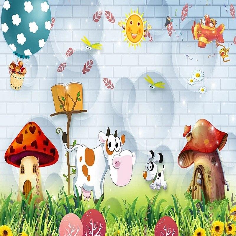 Custom Large Mural 3D Wallpaper Cartoon Cute Brick Wall Circle Cow Child Bedroom Mural TV Back Wall Decor Deep 5D Embossed
