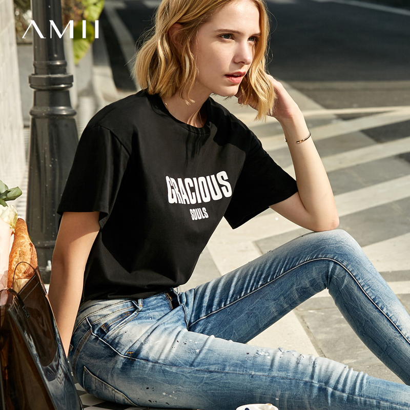 Amii Minimalist T Shirt Women Spring Summer Causal O Neck Short Sleeve Printed Letters 100% Cotton Female Tops Tees 11960023