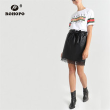 ROHOPO Ruffled Waist Bow Belted Leather Black Skirt Splice Lace Hem Pleated Office Ladies Chic PU Mini Falda #98272