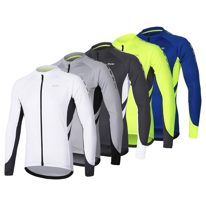 New 6 Color Men Spring Autumn Cycling Jersey Quick Dry Long Sleeves Bike Jersey Bicycle Shirt Zipper MTB Mountain Clothing Wear