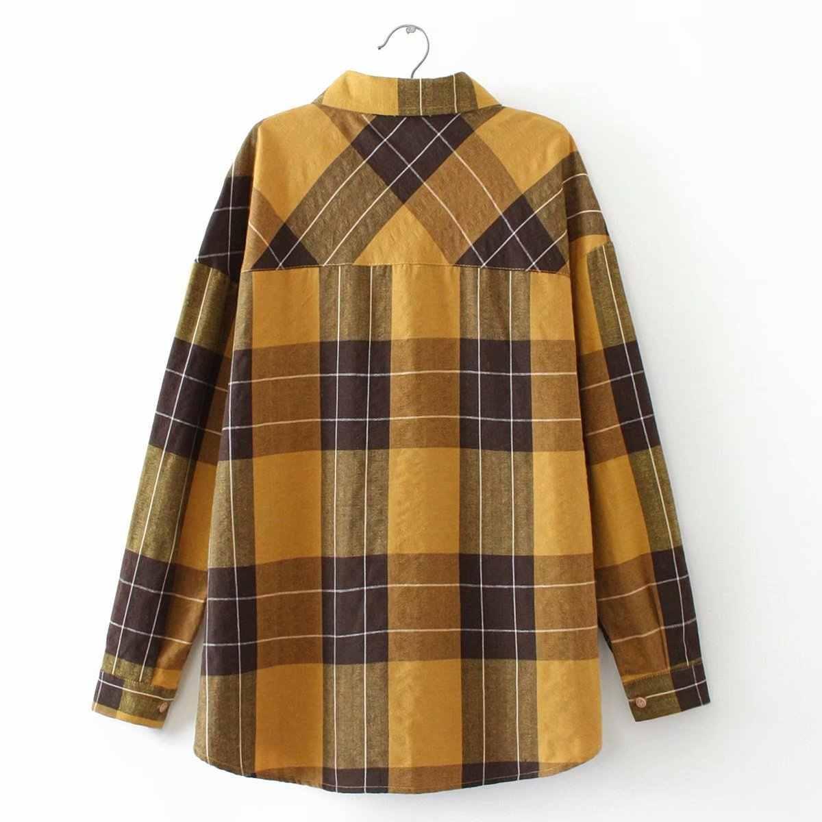 Большие размеры повседневные блузки 2019 осенние модные свободные хлопковые рубашки с длинными рукавами и двойным карманом женские F71-HT1091