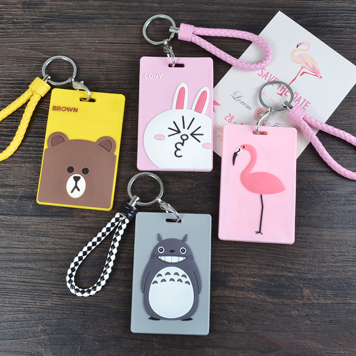 1Pcs Creative Silica Gel Lovely Keychain Card Holder ID Badge Case Student Nurse Bank Credit Card Holders ID Badge Holders image