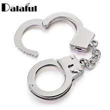 Dalaful Mini Size Handcuffs Keychain Keyring Metal Creative Simulation Model For Car Key Chain Ring Holder Gifts K363