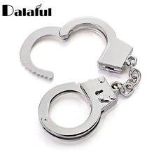 Dalaful Mini taille menottes porte-clés porte-clés métal modèle de Simulation créative pour voiture porte-clés porte-anneau cadeaux K363