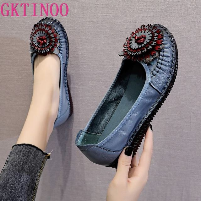 GKTINOO 2020 Soft Genuine Leather Flat Shoes Slip On Women Flats with Flowers Ladies Shoes Women Designers Loafers